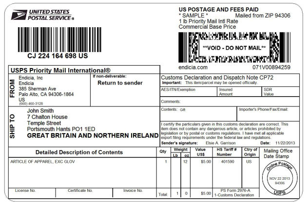 USPS Priority Mail International shipping label