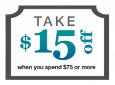 Take $15 off when you spend $75 or more