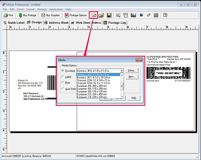 configuring dazzle for envelopes endicia