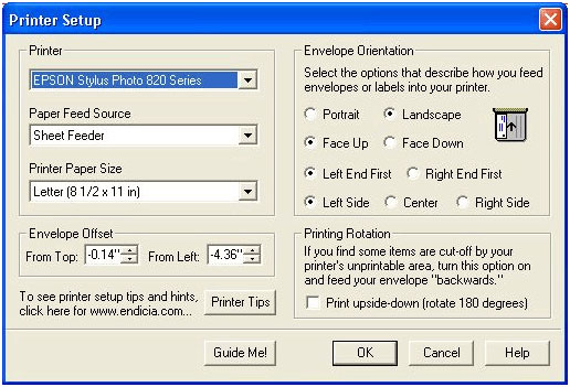 Printer Setup dialog box