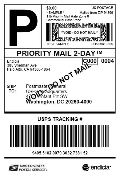 Priority Mail 2 Day Label July 2013