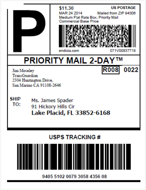 Priority Mail Label with STC of 055