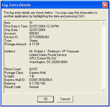 Log Entry Details dialog box