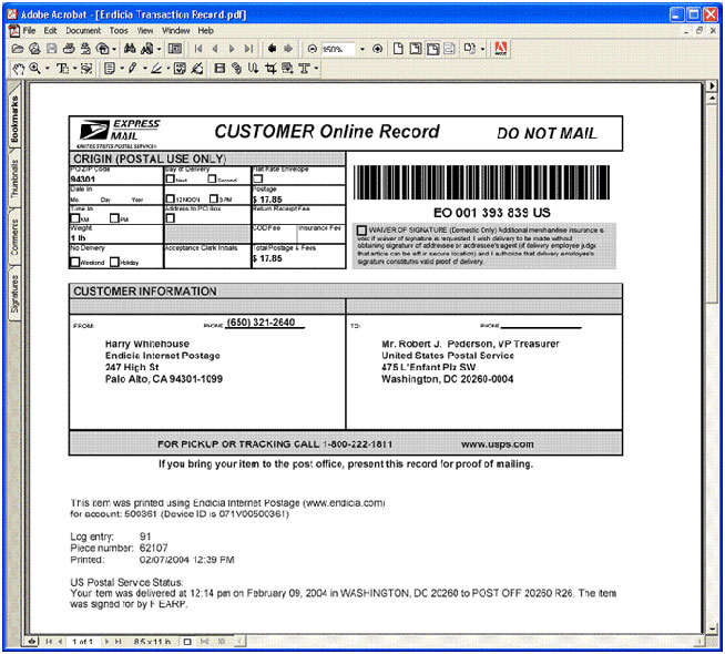Customer Online Record PDF