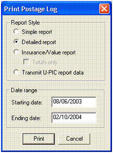 Print Postage Log dialog box - print summary reports