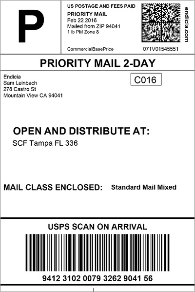 USPS PMOD shipping label