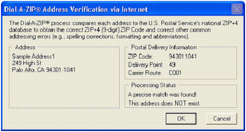 Dial-A-ZIP Address Verification via Internet – address does not exist