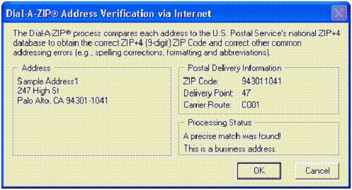 Dial-A-ZIP Address Verification via Internet – address exists