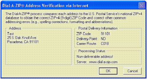 Dial-A-ZIP Address Verification - non-deliverable