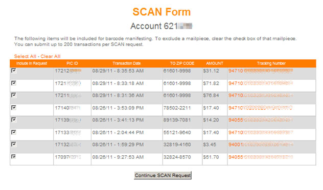 Shipment Confirmation Acceptance Notice (SCAN) for packages   Endicia
