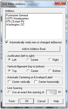 Edit Main Address dialog box