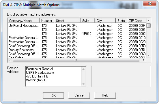 Dial-A-ZIP Multiple Match Options