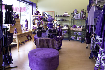 Purple housewares and other knickknacks sold by the e-commerce business, The Purple Store
