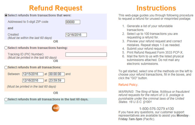 refund request instructions screenshot